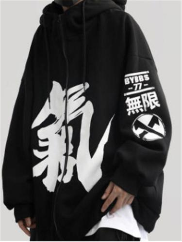 Unisex Oversized Characters Printed Drawstring Hooded Pullover Sweatshirt