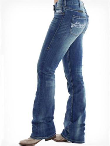 Slim Fit Embroidery Washed Effect Pocket Straight Leg Jeans