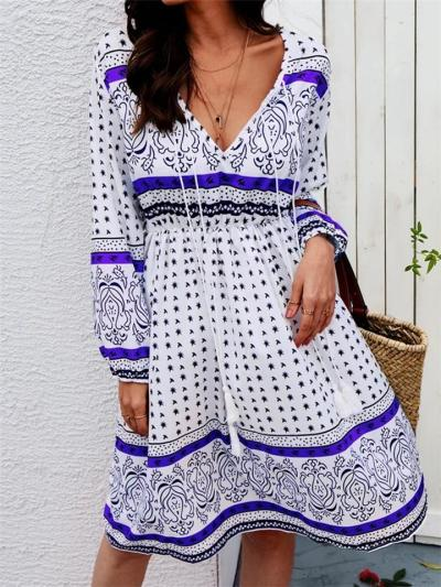 Casual Style Low V Neck Fitted Waist Long Sleeve Floral Printed Midi Dress