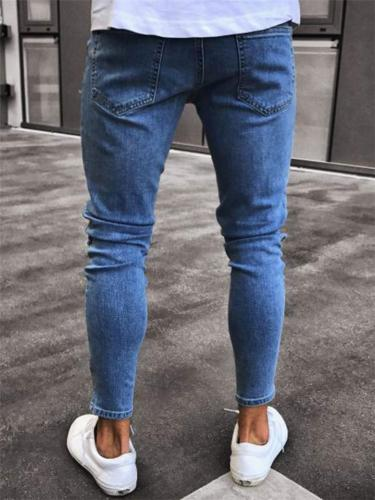 Men's Tapered Fit Cartoon Printed Ripped Denim Trousers