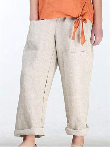 Comfy Solid Color Pocket Cotton Linen Pants