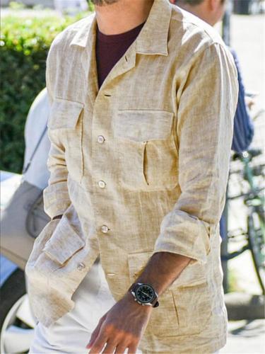 Relaxed Fit Lapel Collar Multi-Pocket Button Up Linen Shirt