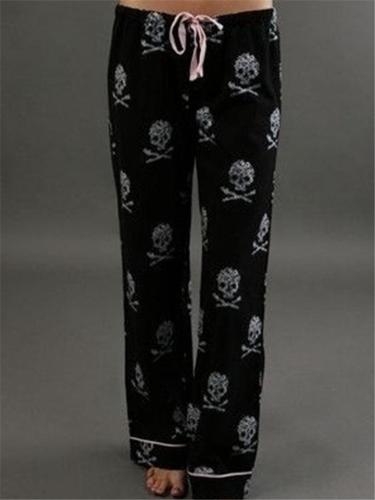 Stylish Skull Print Slouchy Drawstring Pants