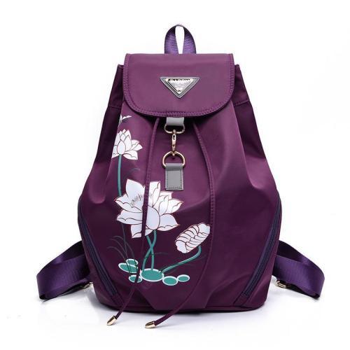 Women's Lotus Printing Large Capacity Travel Nylon Backpack