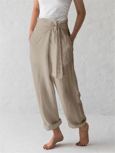 Minimalist Style High-Rise Side Tie Up Pocket Cotton Linen Pants