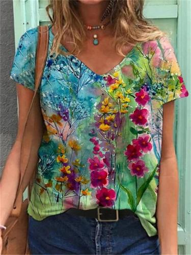 Loose Fit Multicolor Floral V Neck Pullover Short Sleeve T-Shirt