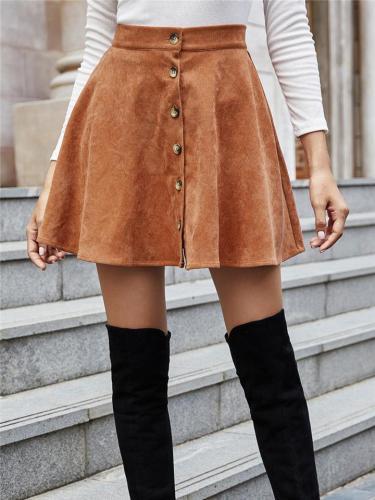 Autumn Stylish High-Rise Corduroy Flare Mini Skirt