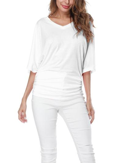 Loose Fit V Neck Batwing Half Sleeve Solid Color Pullover Tops
