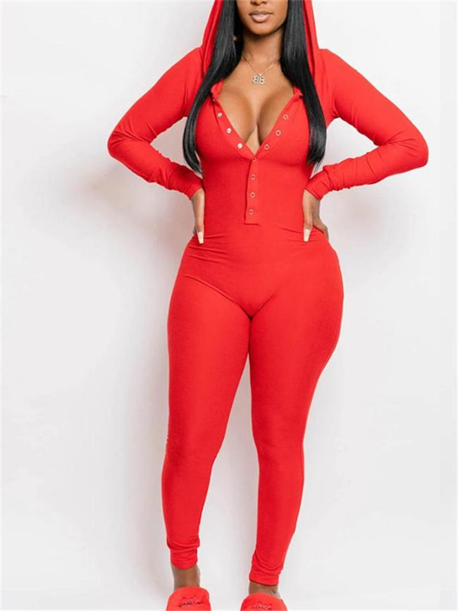 Sexy Slim Fit Front Button Long Sleeve Hooded Jumpsuit