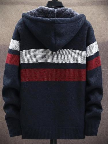 Extra Cozy Full Zipper Pocket Striped Knitted Hooded Coat
