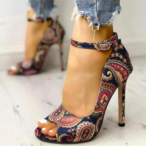 Ethnic Style Floral Print Buckle-Fastening Ankle Strap Peep Toe High Heels