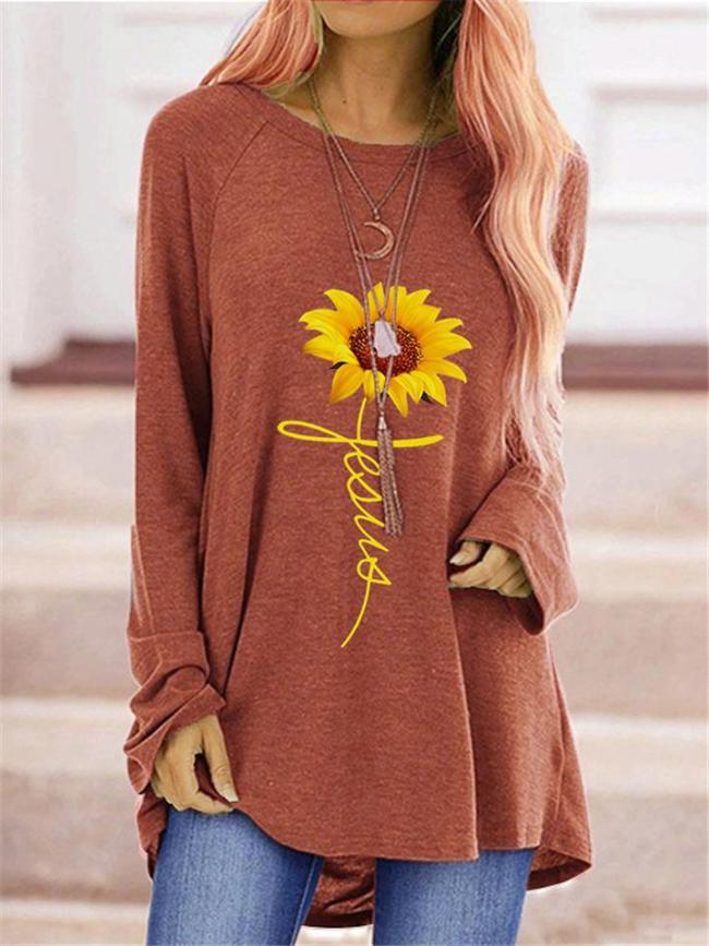 Casual Sunflower Round Neck Long Sleeve Pullover Midi Tops
