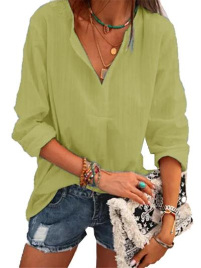 Loose Fit V Neck Long Sleeve Solid Color Pullover Cotton-Blend Tops
