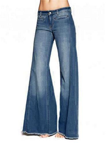 Casual Style Ripped Hem Washed Effect Straight Denim Pants