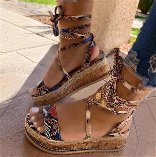 Bohemian Style Snake Pattern Ankle Strap Platform Flat Heel Sandals