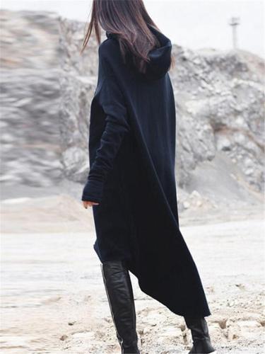 Comfortable Asymmetric Hem Thumbhole Sleeve Hooded Midi Sweatshirt