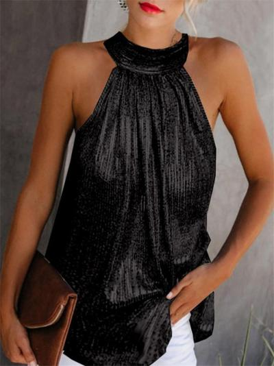 Shimmering Halter Neck Sleeveless Zipper Tops