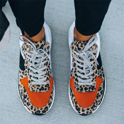 Fashionable Contrasting Leopard Pattern Lace-Up Thick-Sole Walking Shoes