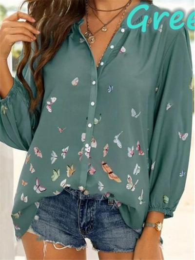 Loose Fit Stand Collar Butterfly Button Up Elastic Cuff Long Sleeve Blouse