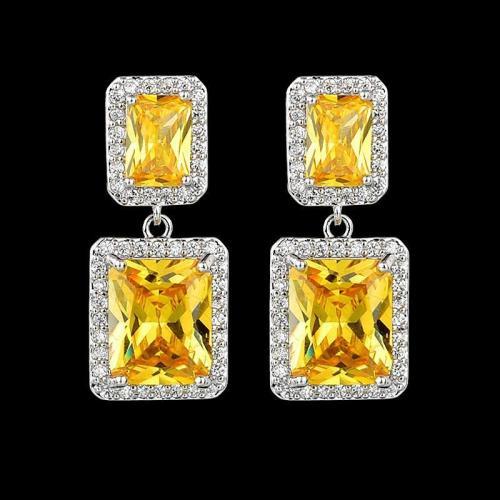 Elegant Zircon Plated Square Shaped Dangled Earrings