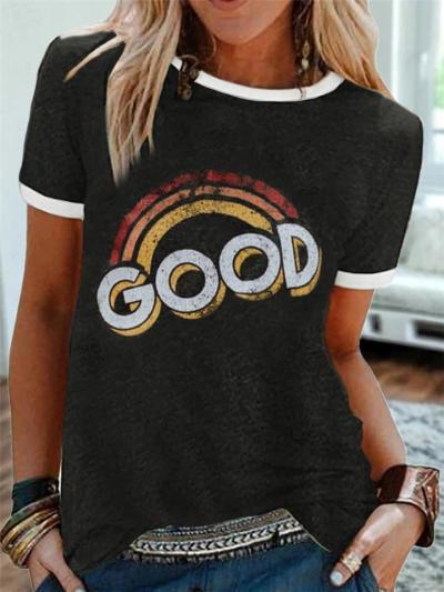 Regular Fit Round Neck Rainbow Letter Short Sleeve T-Shirt