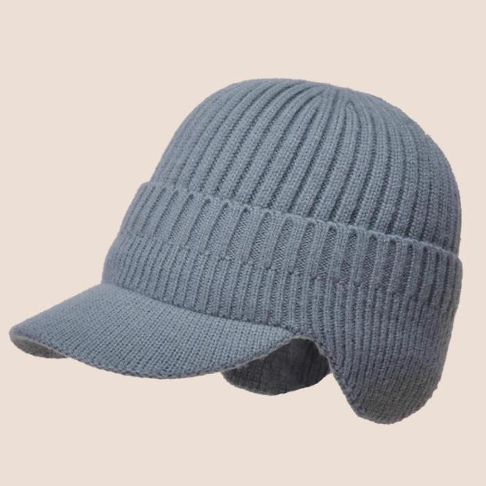 Men's Warm Windproof Ribbed Knitted Brim Cap with Ear Flaps