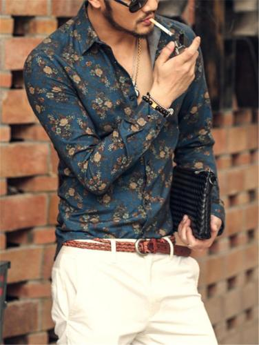 Stylish Floral Printed Button Up Lapel Collar Long Sleeve Shirt