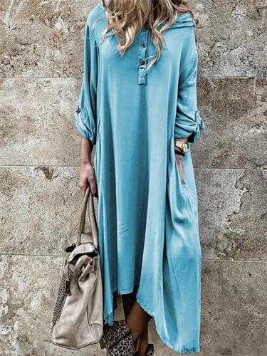Casual Solid Color Half Button Shirt Dress with Hood