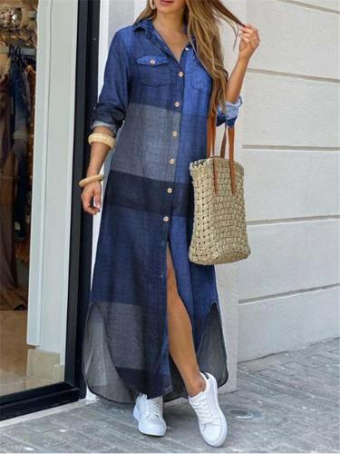 Fashion Plaid Color Matching Long Shirts Dress