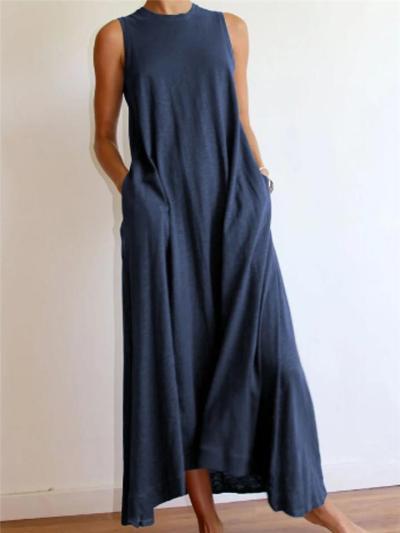 Minimalist Style Crew Neck Solid Sleeveless Cotton-Blend Dress