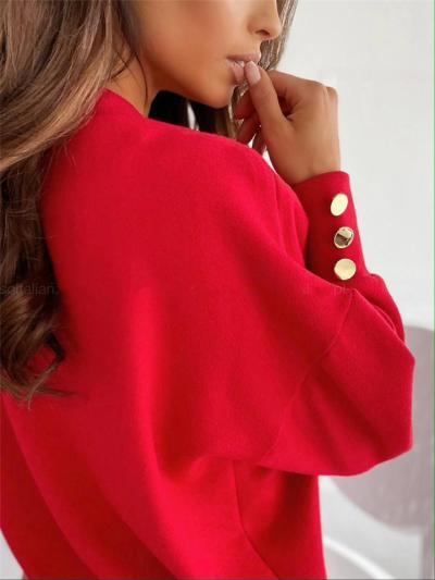 Regular Fit V Neck Solid Color Button Deco Pullover Tops