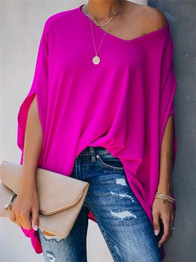 Loose Fit V Neck Solid Color Batwing Sleeve Pullover Tops