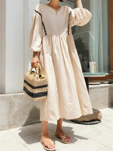 Oversized Elastic Cuff 3/4 Sleeve Cotton Pleated Maxi Flare Dress