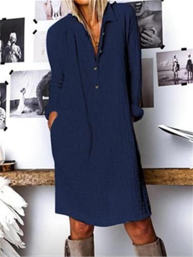 Relaxed Fit Lapel Collar Button Up Long Sleeve Linen Mini Dress