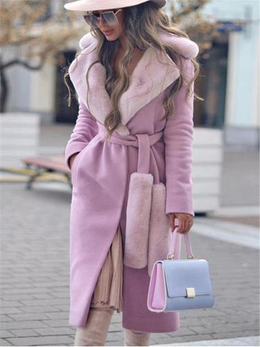 Fancy Street Ladies' Exaggerate Collar Tied Waist Shearling Patched Long Relaxed Wrap Wool Coat