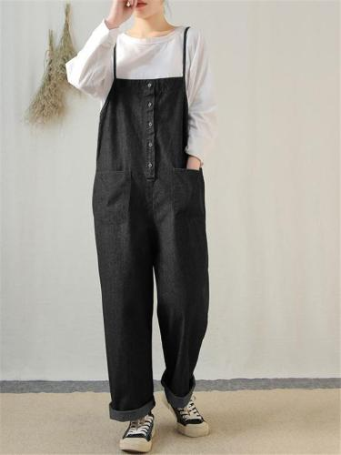 Casual Style Pocket Denim Reversible Strappy Overalls
