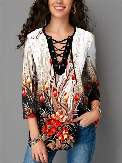 Relaxed Fit Round Neck 3/4 Sleeve Lace-Up Floral Printed Pullover Tops
