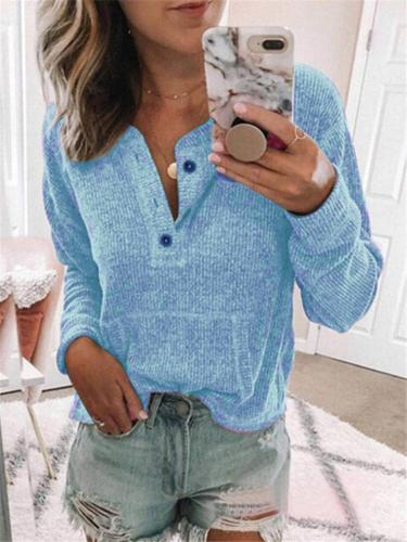 Womens Casual Solid Color Ribbing Long Sleeve T-shirt
