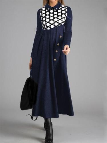 Stylish Long Sleeve Geometric Pattern Patchwork Swing Dress