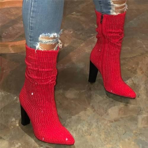 Stylish Shimmery Rhinestone Pointed Toe Zipper High Heel Mid-Calf Boots