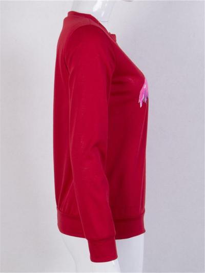 Causal Style Flamingo Printed Long Sleeve Round Neck Sweatshirt
