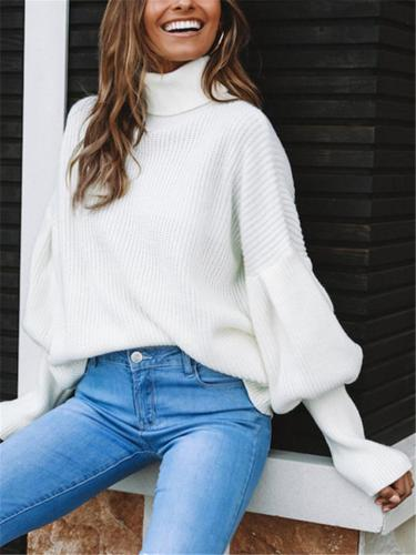 Loose Fit High Neck Solid Color Lantern Sleeve Knitted Sweater