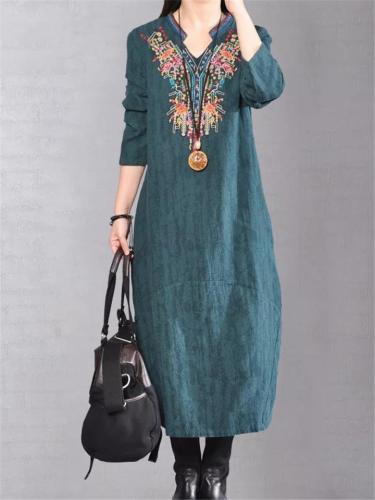 Ethnic Style Stand Collar Long Sleeve Floral Embroidered Pocket Midi Dress