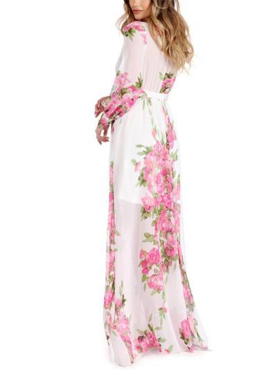 Flowy Wrap V Neck Long Sleeve Floral Waist Tie Lightweight Maxi Dress