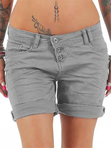 Slim Fit Mid-Rise Button Up Pocket Solid Color Shorts