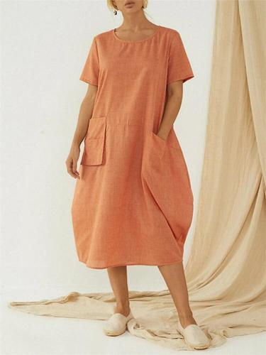 Casual Style Crew Neck Solid Color Short Sleeve Pocket Baggy Dress