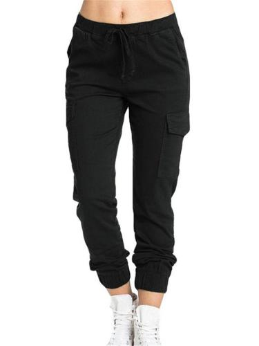 Casual Fit Mid-Rise Elastic Waistband Drawstring Pocket Cargo Pants