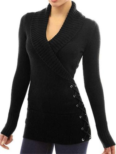 Comfortable Wrap Neck Long Sleeve Ribbed Knit Pullover Sweater