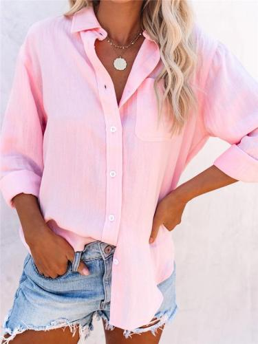 Casual Fit Solid Color Button Up Lapel Collar Long Sleeve Blouse