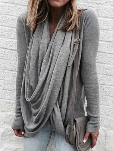 Women Fashion Casual Draped Neckline Long Sleeve Blouses